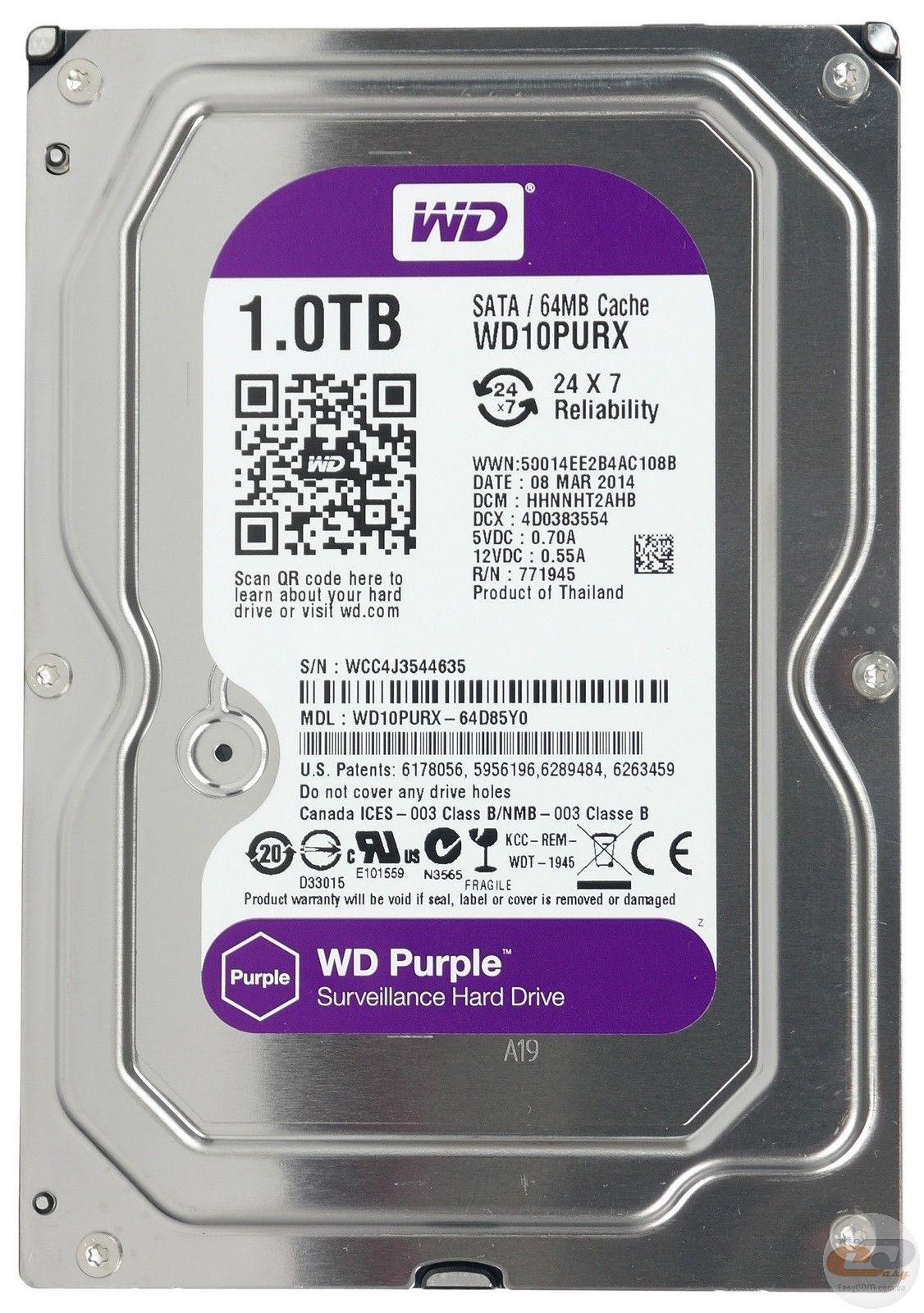 WD Purple Surveillance hard drive 1TB 2TB 4TB 6TB 8TB CCTV ...